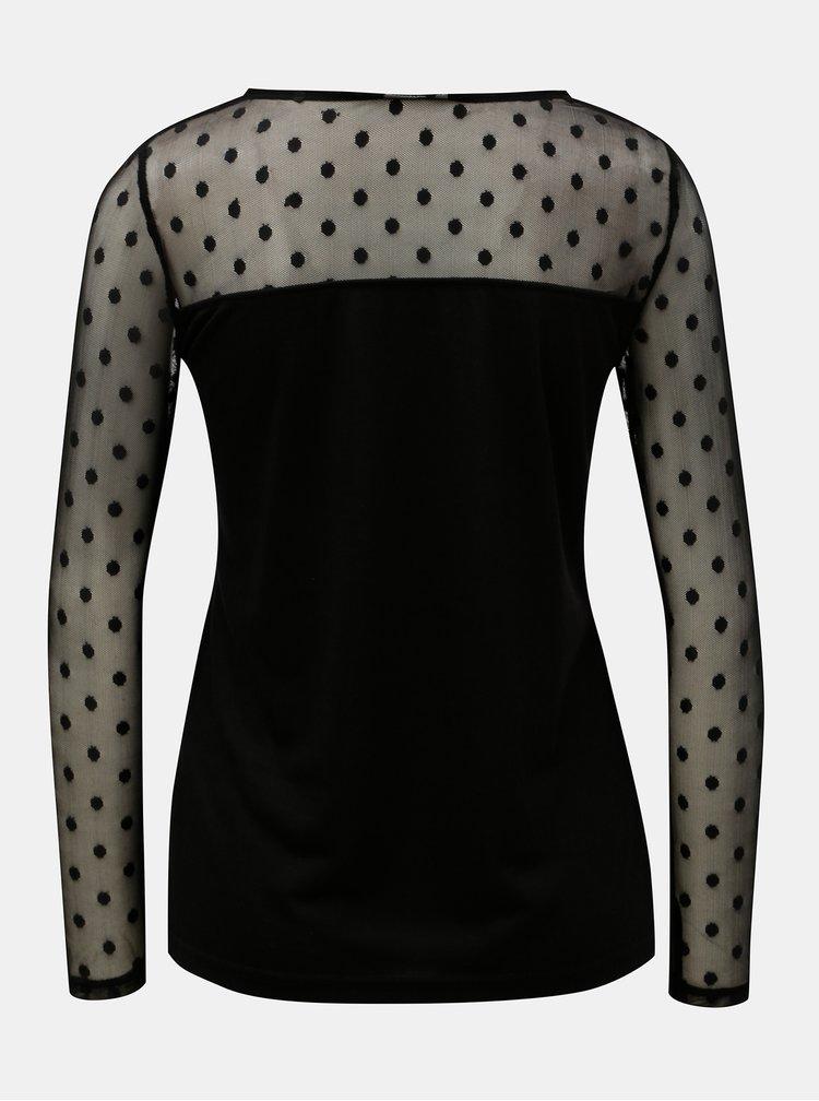 Tricou negru cu partea de sus si manecile din plasa Noisy May