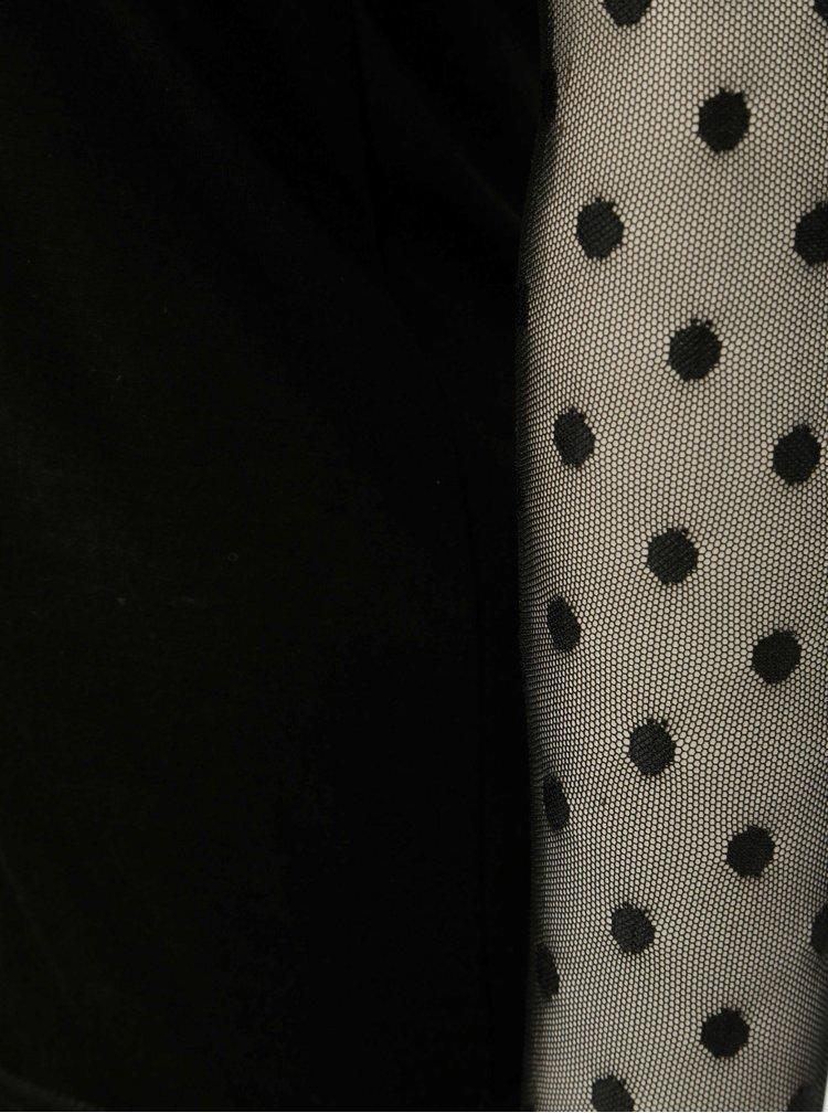 Černé tričko se síťovanými rukávy a sedlem Noisy May