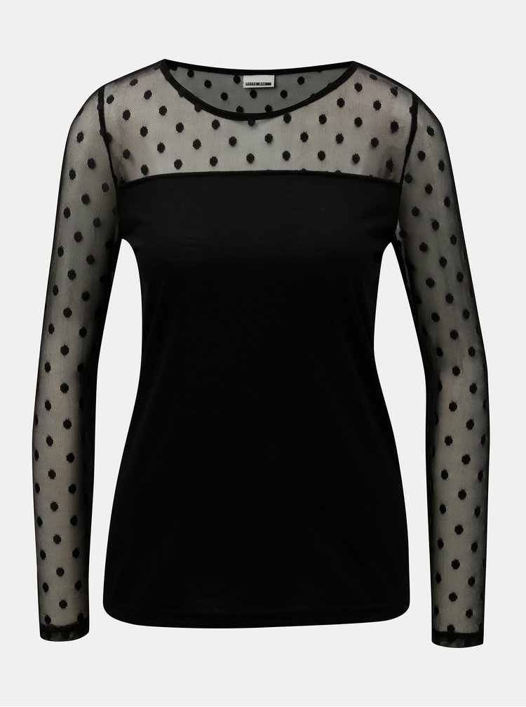 Čierne tričko so sieťovanými rukávmi a sedlom Noisy May