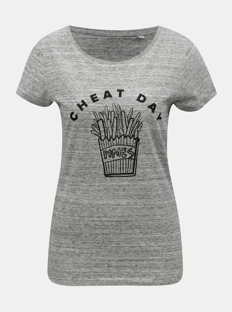 Sivé dámske melírované tričko s motívom hranoliek ZOOT Original Cheat day