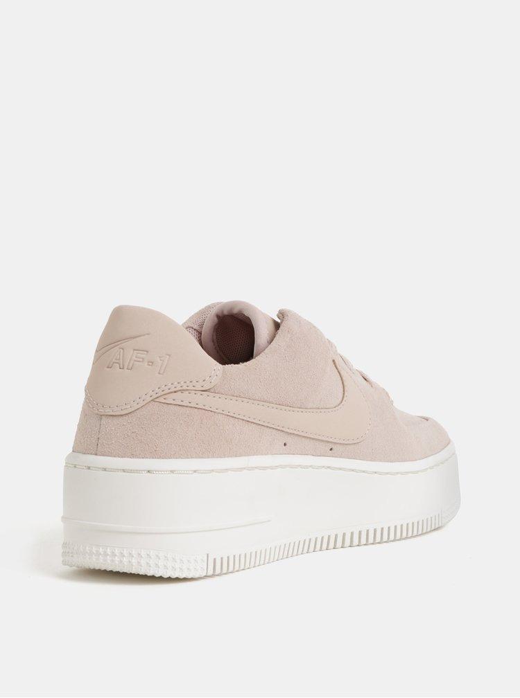 Tenisi din piele intoarsa roz de dama cu platforma Nike Air Force 1