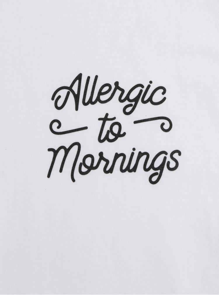 Tricou barbatesc alb cu imprimeu ZOOT Original Allergic to mornings