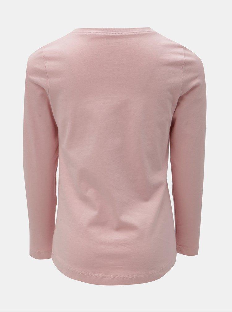 Ružové dievčenské tričko s potlačou a dlhým rukávom Name it Veen