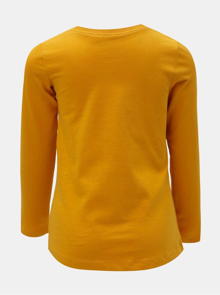 Hořčicové holčičí tričko s potiskem a dlouhým rukávem Name it Veen