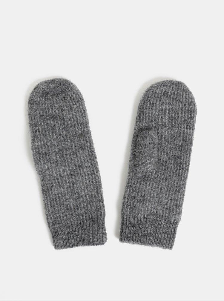 Šedé žíhané rukavice s příměsí z vlny z alpaky Pieces