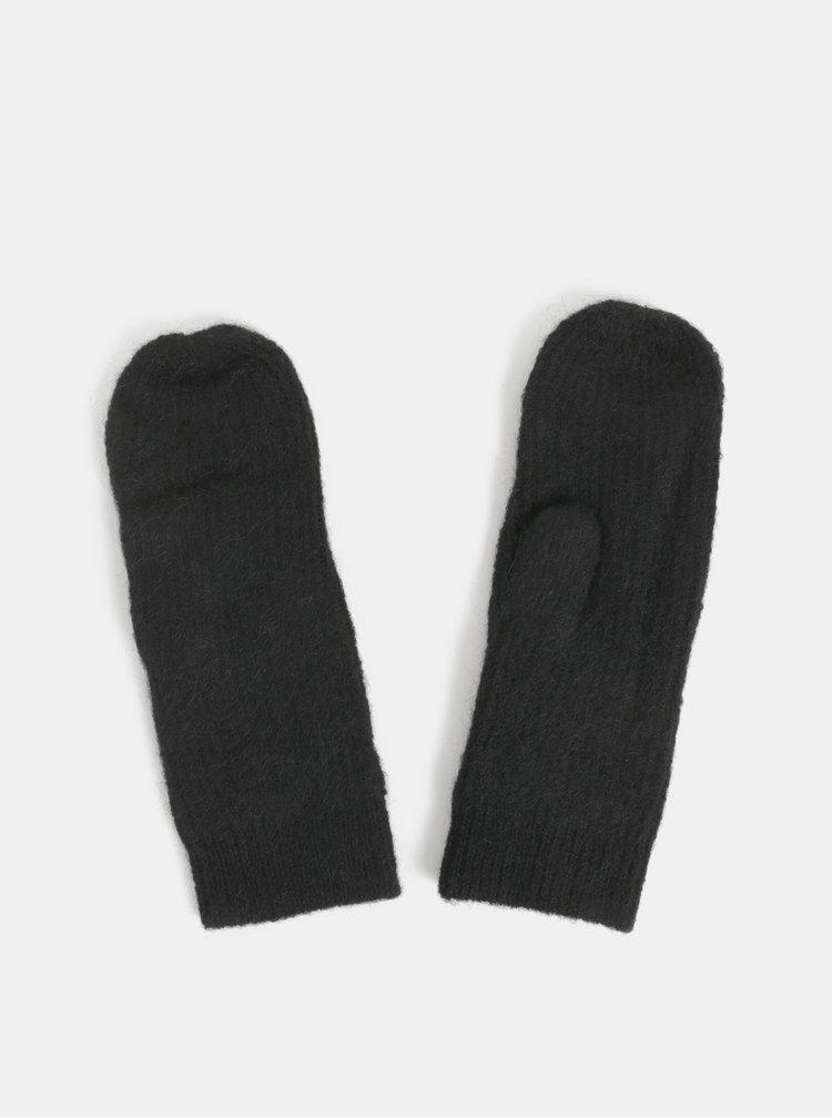 Čierne rukavice s prímesou vlny z alpaky Pieces