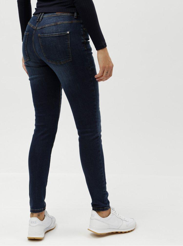 Tmavě modré slim džíny s vyšisovaným efektem Jacqueline de Yong Filipa