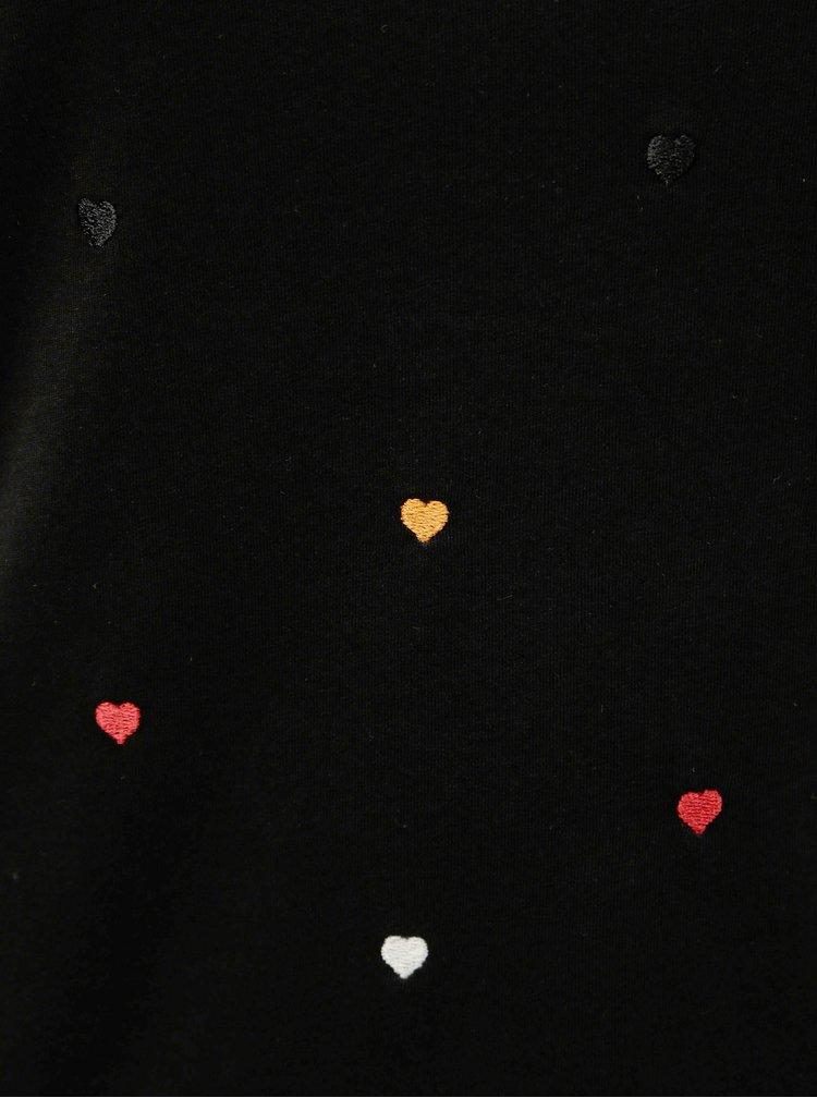 Tricou negru cu motiv brodat ONLY