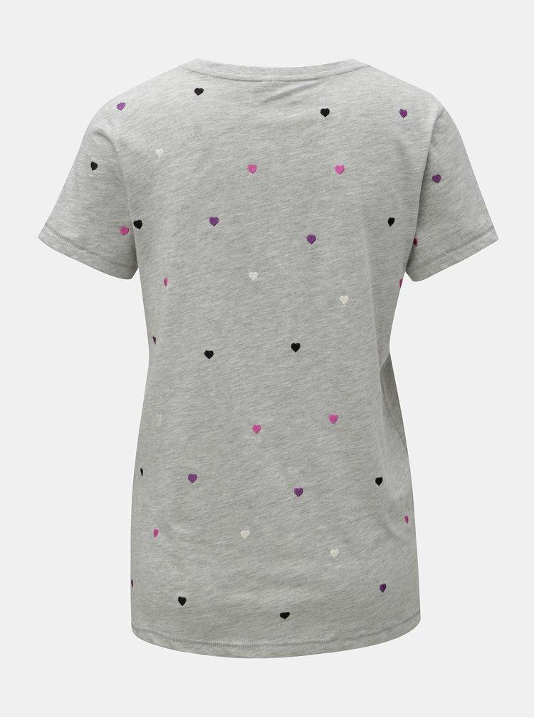 Svetlosivé melírované tričko s vyšívaným motívom ONLY