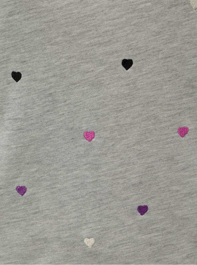 Světle šedé žíhané tričko s vyšívaným motivem ONLY