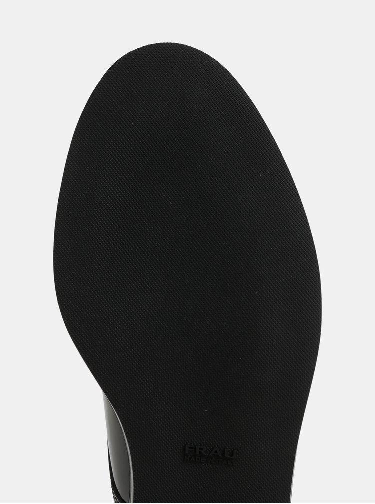 Černé kožené lesklé polobotky Frau Saffy