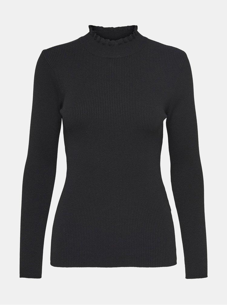 Černý lehký žebrovaný svetr Jacqueline de Yong
