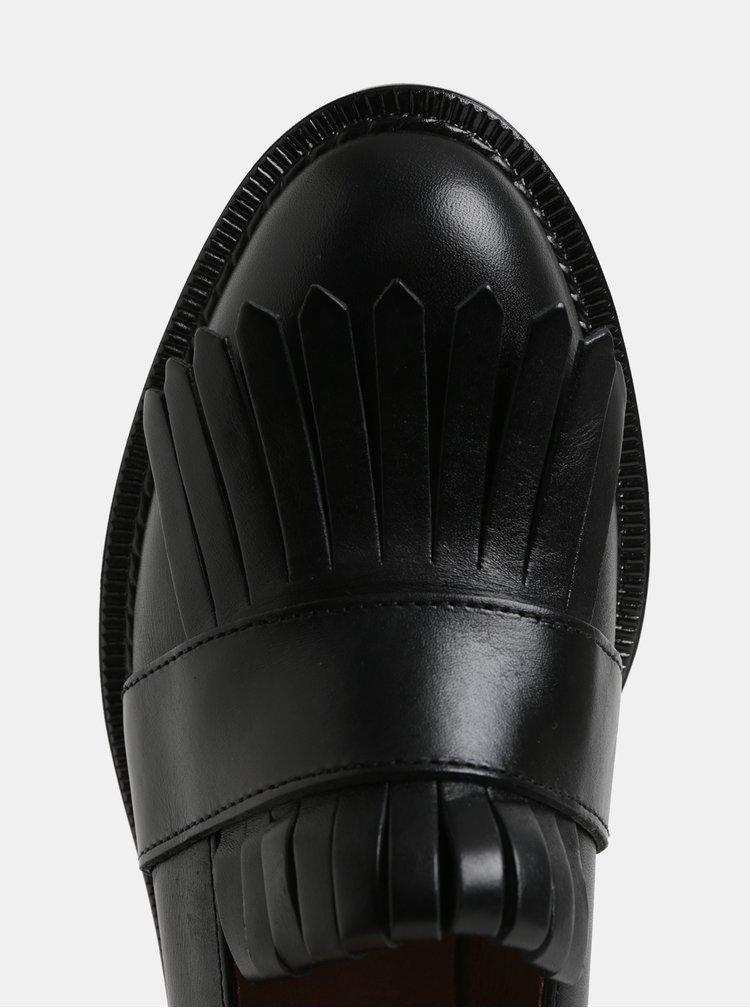 Černé kožené mokasíny Frau Seta