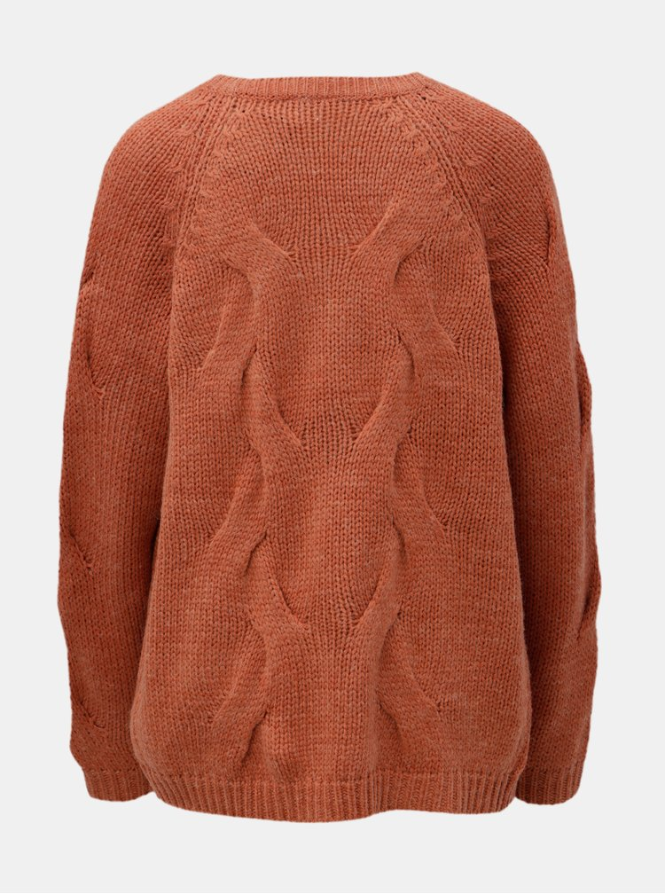 Cardigan oranj cu amestec de lana VILA Cabla