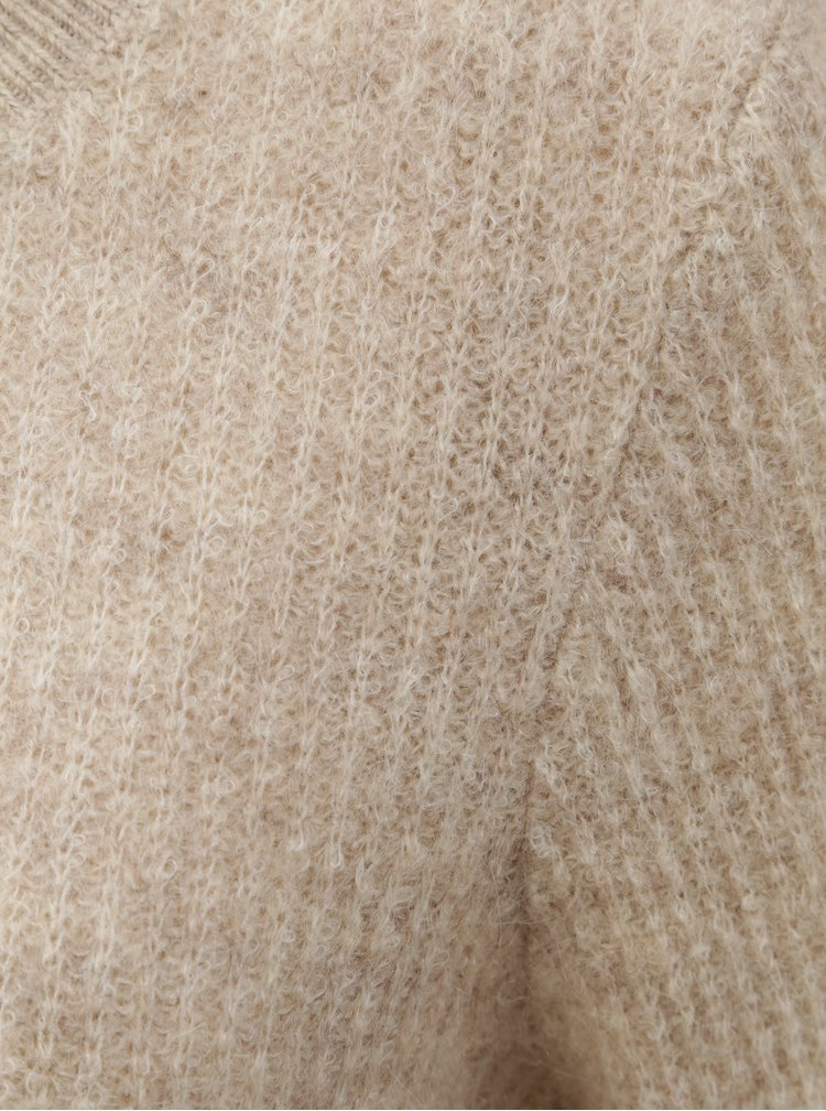 Béžový vlnený basic sveter s prímesou mohéru VILA Tura