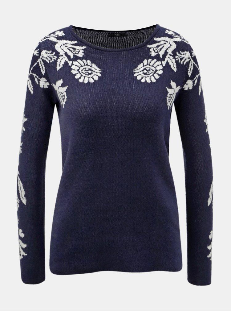 Pulover albastru inchis cu motiv floral M&Co