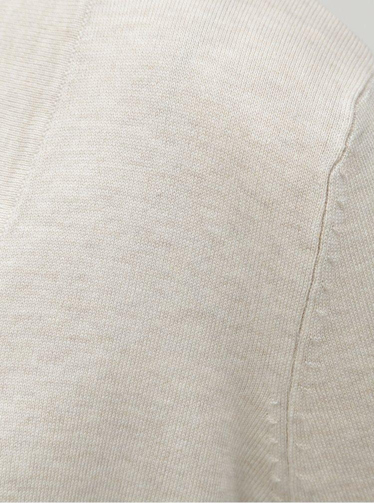 Béžový lehký žíhaný kardigan s knoflíky na rukávech M&Co