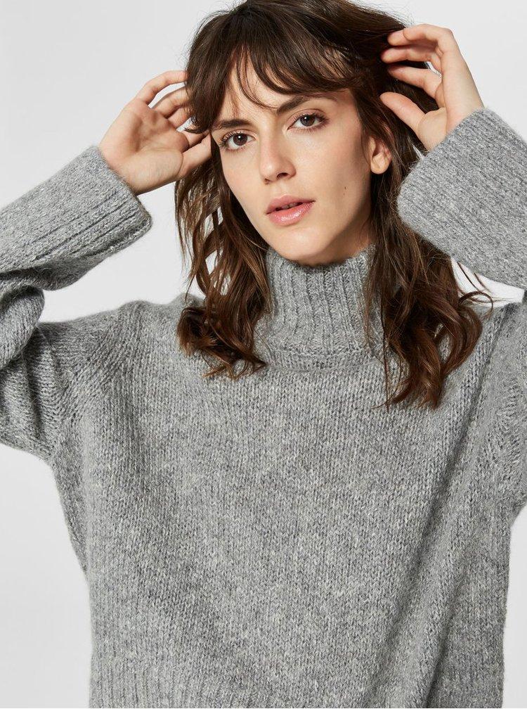 Sivý oversize rolák s prímesou vlny Selected Femme