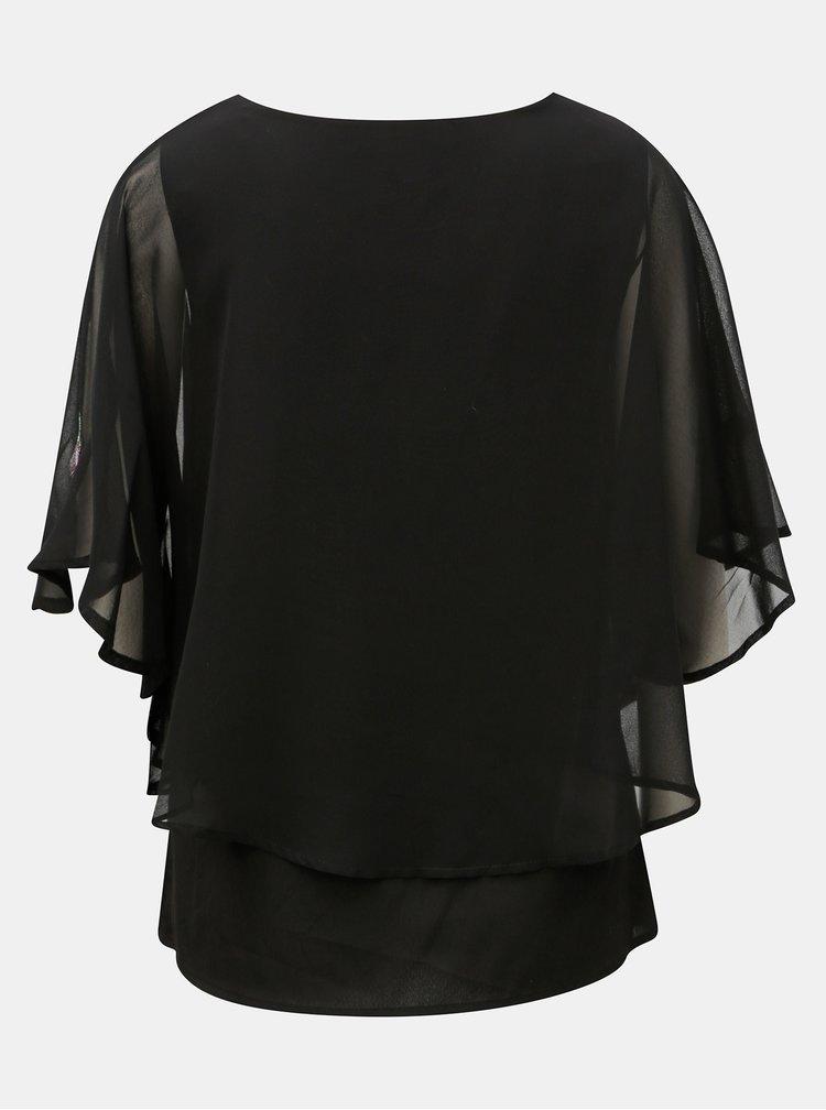 Černá halenka s motivem peříček M&Co