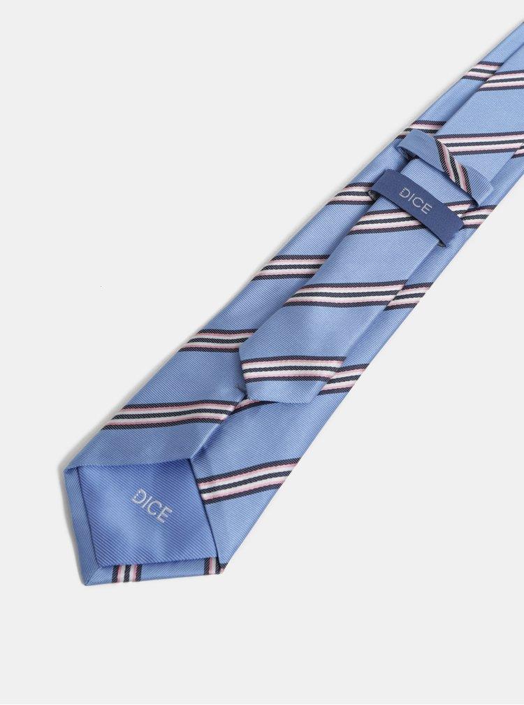 Ružovo–modrá vzorovaná hodvábna kravata Dice