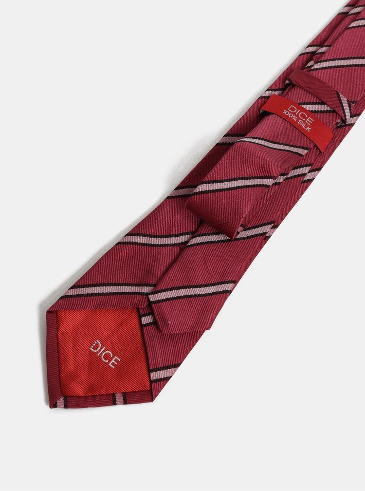 Růžovo-vínová vzorovaná hedvábná kravata Dice