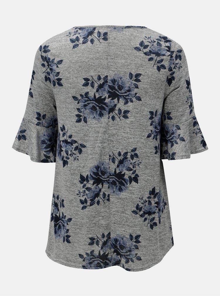 Sivé kvetované tričko M&Co Plus