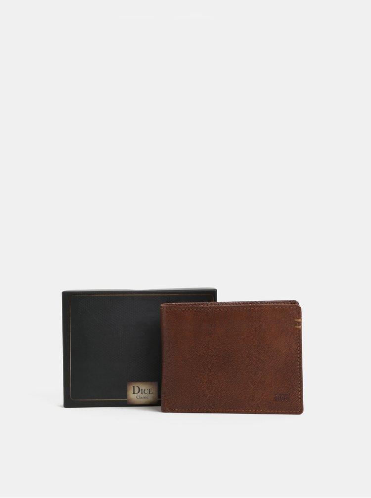 Hnědá kožená peněženka Dice Parker