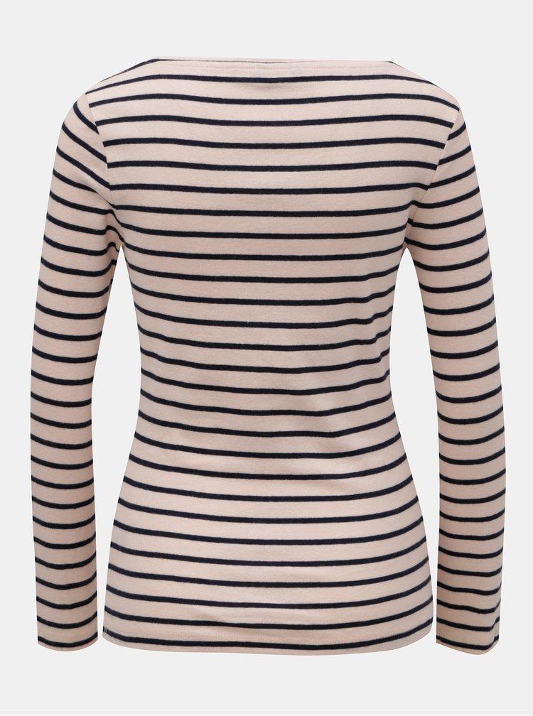Modro–ružové pruhované basic tričko s dlhým rukávom M&Co