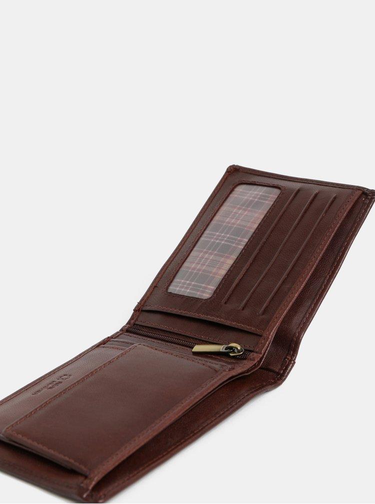 Hnedá kožená prešívaná peňaženka Dice Everly
