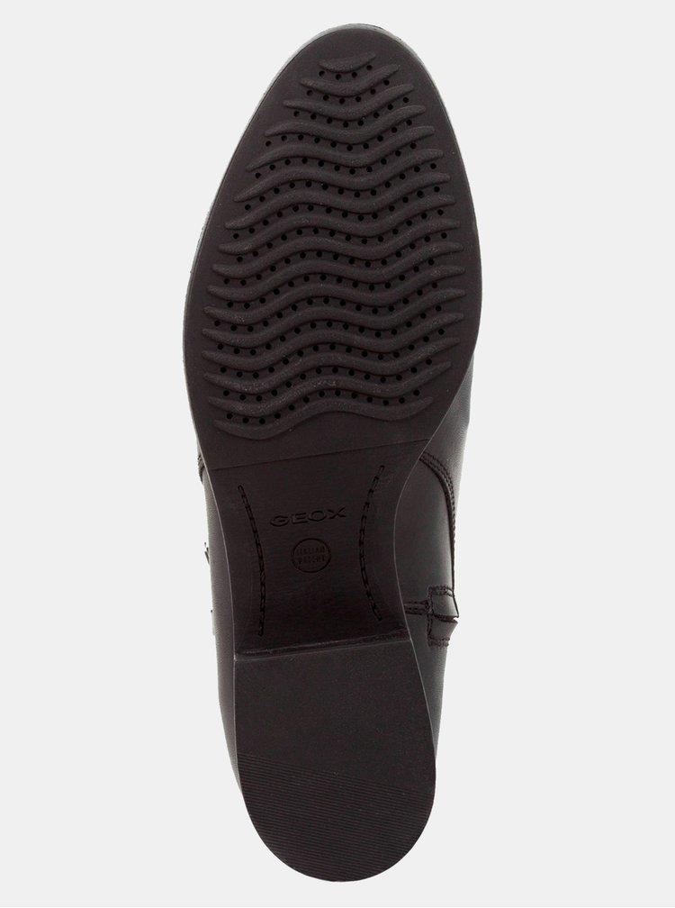 Černé dámské kožené voděodolné kotníkové boty Geox