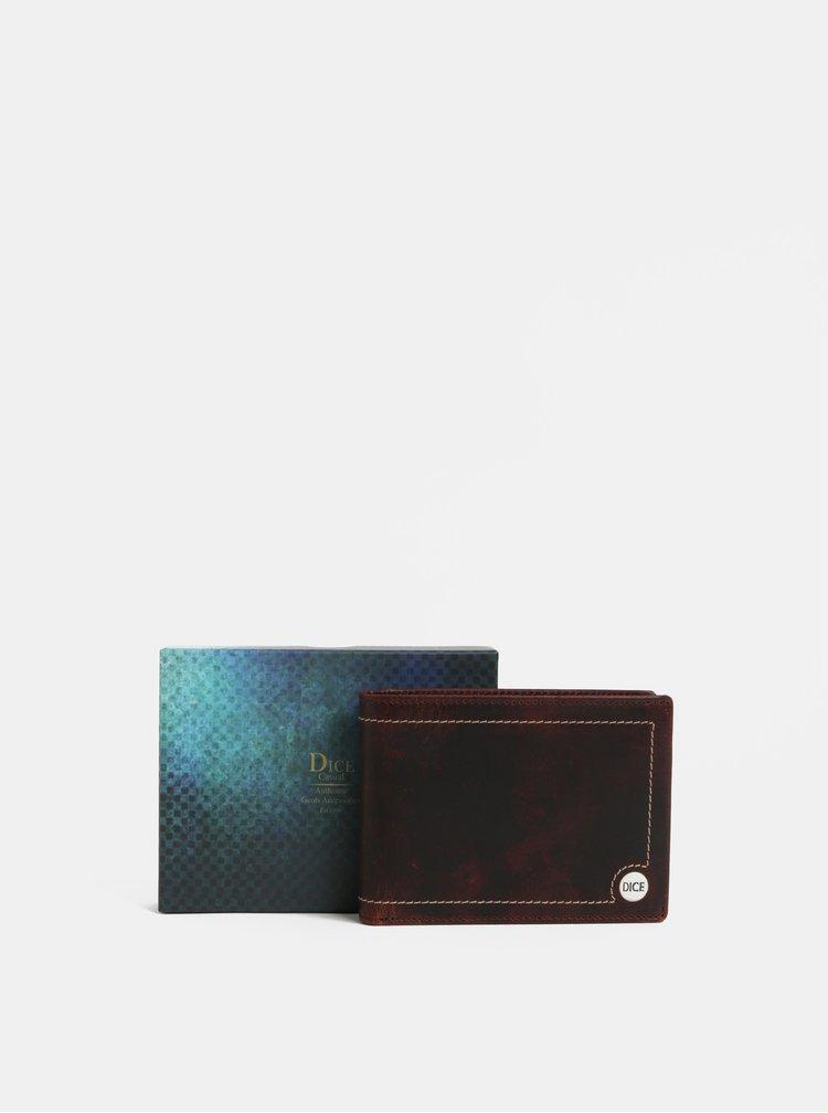 Tmavě hnědá kožená  peněženka Dice Briggs