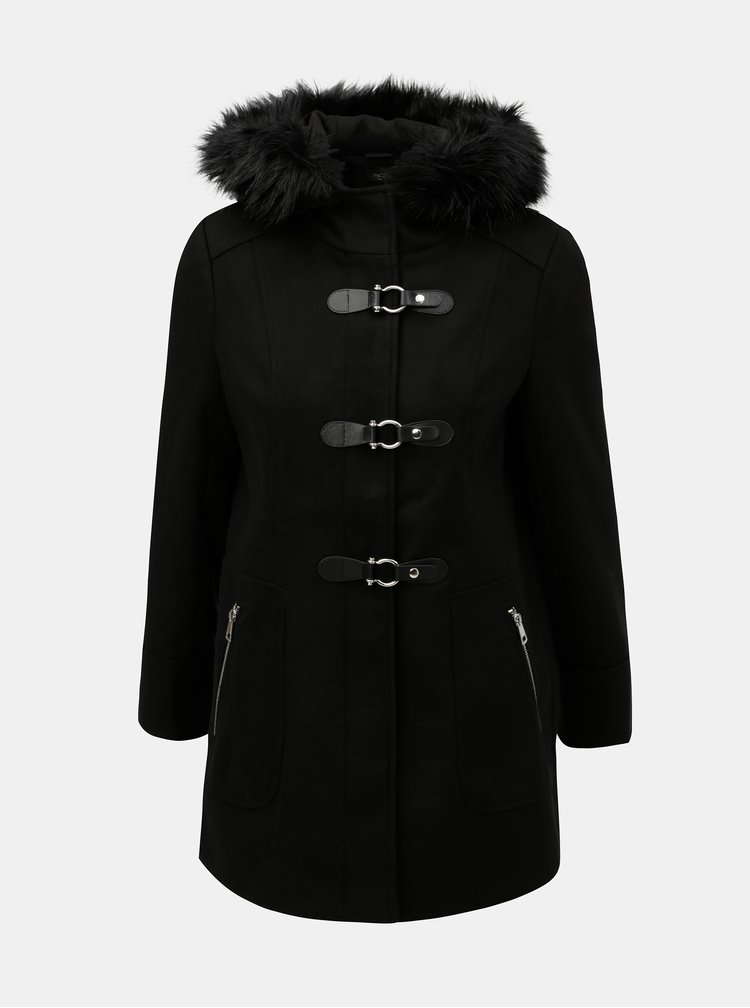 Černý kabát s umělým kožíškem M&Co Petite