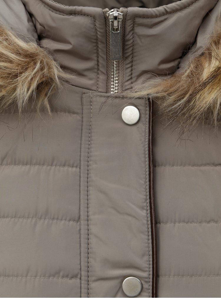Béžová prešívaná zimná bunda s umelou kožušinkou M&Co Petite