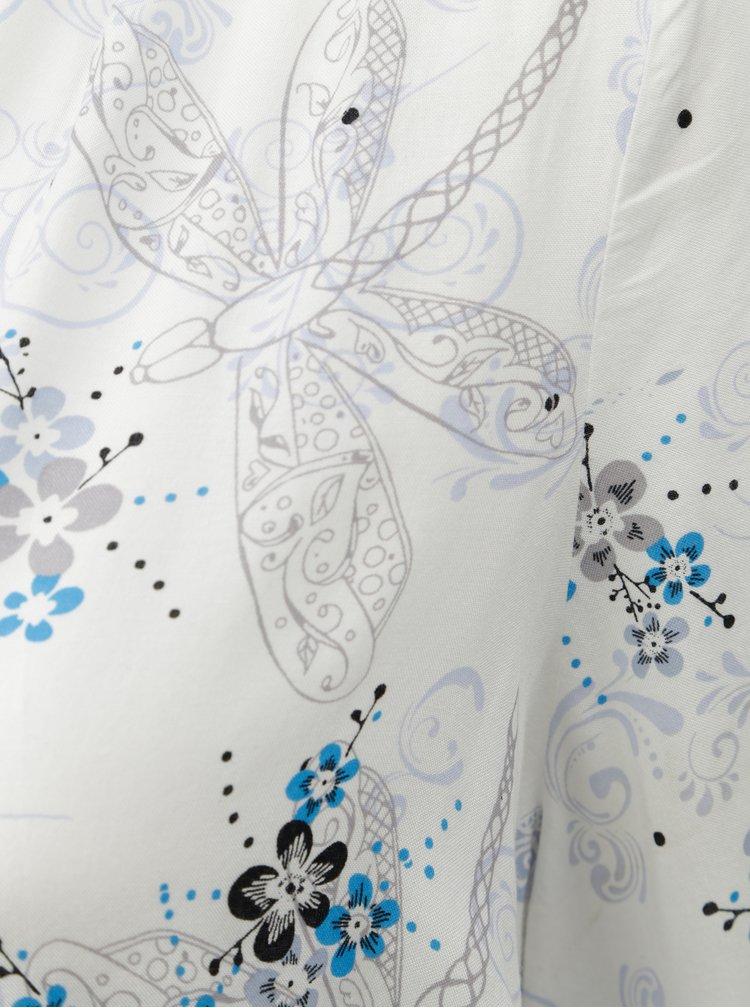 Bílá květovaná halenka s 3/4 rukávem M&Co Plus