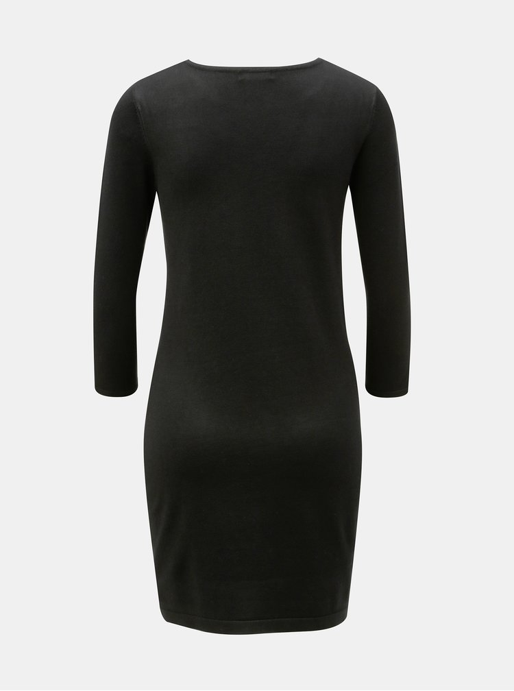 Černé svetrové šaty s výšivkou M&Co