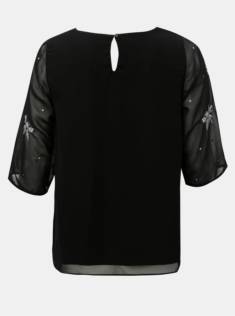 Čierna blúzka s vyšívaným motívom M&Co Plus