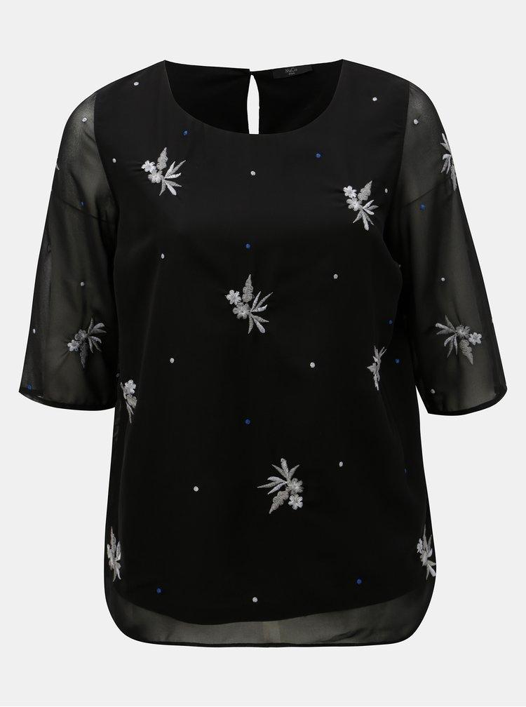 Bluza neagra cu motiv brodat M&Co Plus