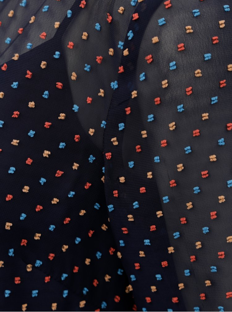 Tmavě modrá vzorovaná halenka s 3/4 rukávem M&Co