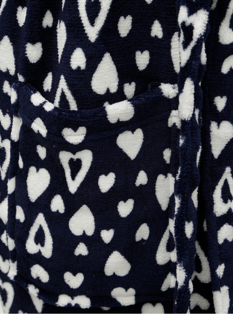 Halat de baie alb-albastru cu motiv inimi M&Co