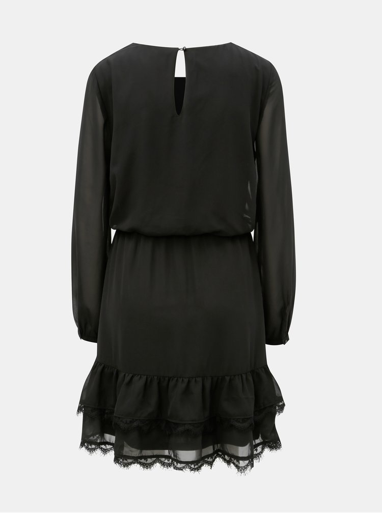 Černé šaty s dlouhým rukávem a krajkovými detaily VERO MODA