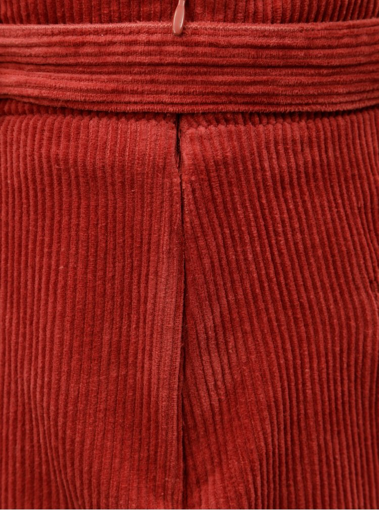 Fusta rosie din material reiat cu funda ONLY Cord