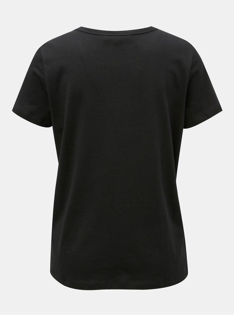 Tricou negru cu broderie VERO MODA