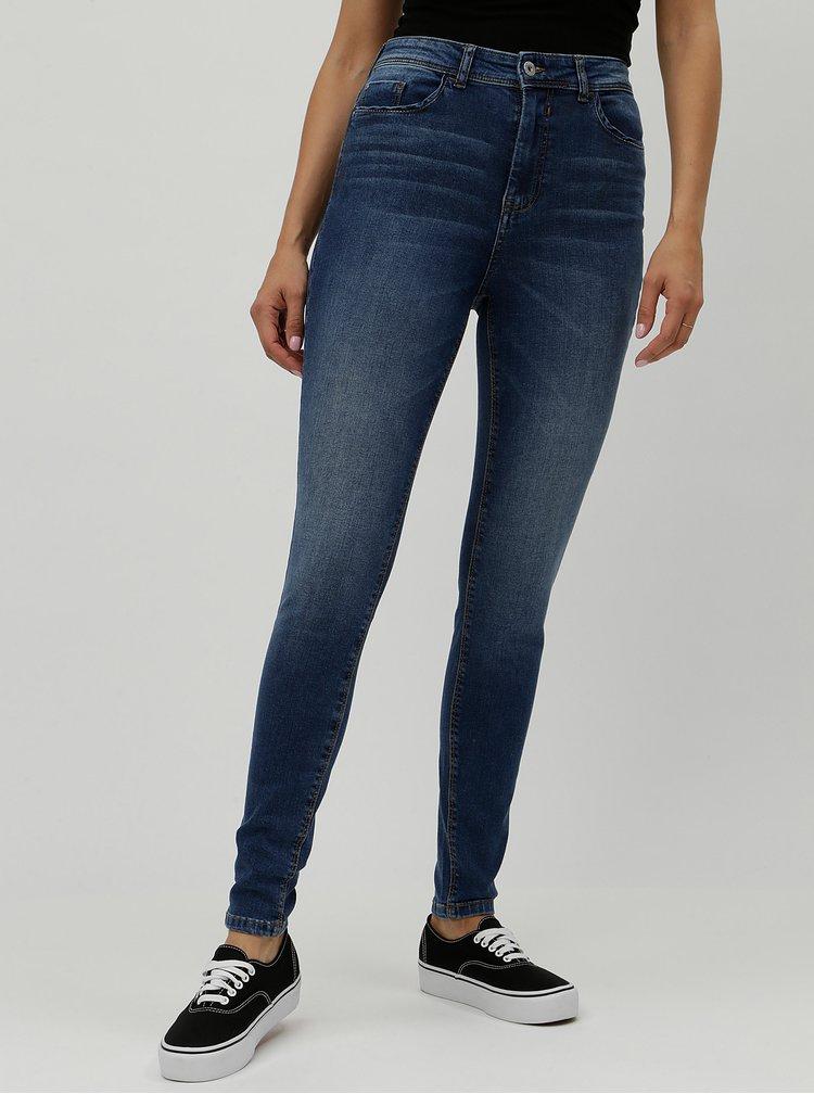 Modré skinny džíny s vysokým pasem Jacqueline de Yong Jona