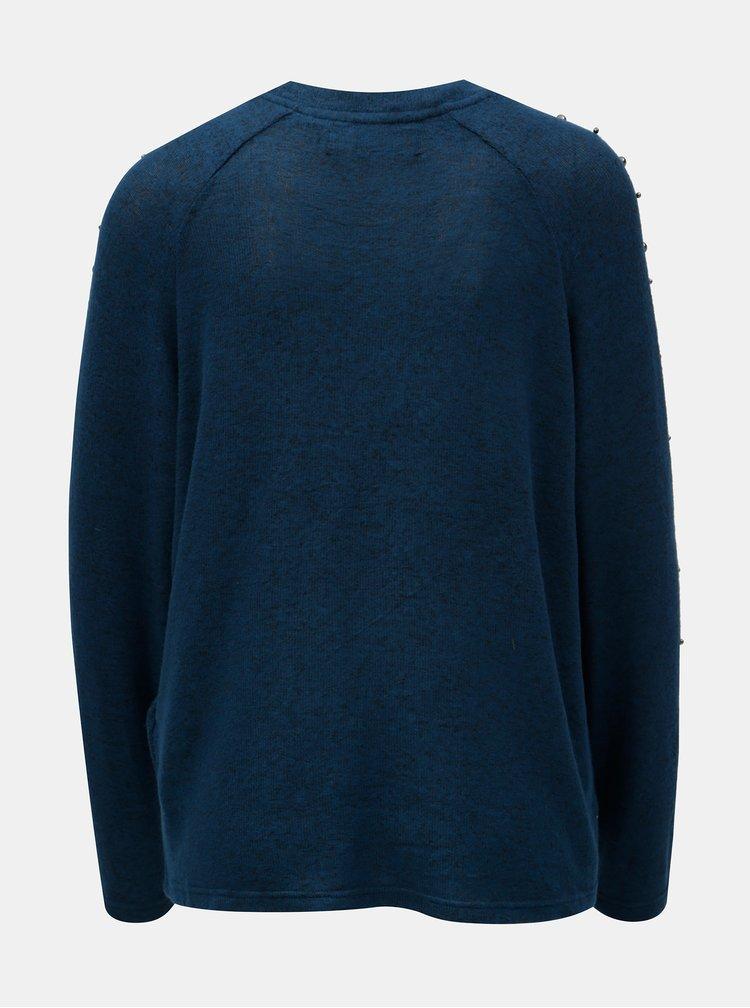 Pulover albastru inchis lejer cu margele VERO MODA