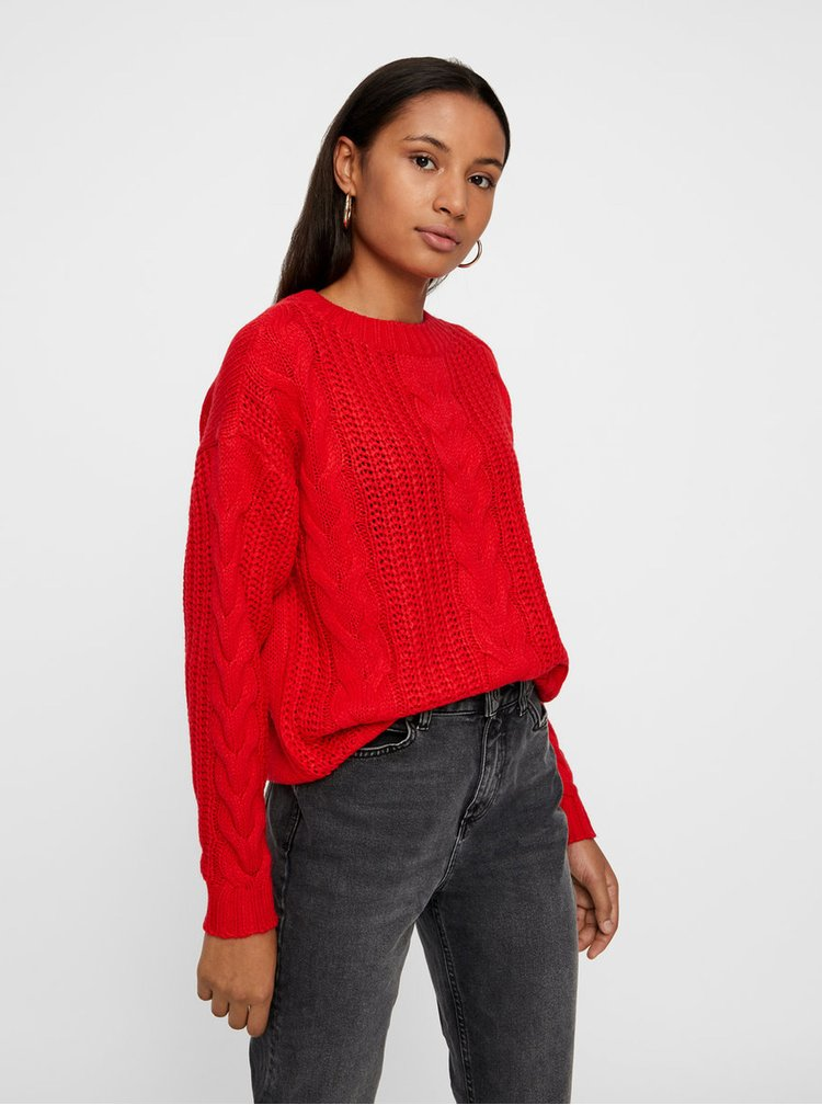 Červený volný svetr VERO MODA