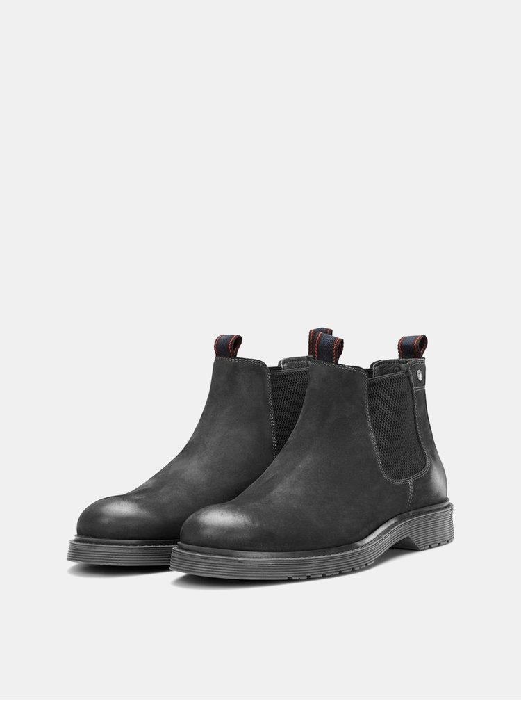 Černé pánské kožené chelsea boty Jack & Jones Leyton