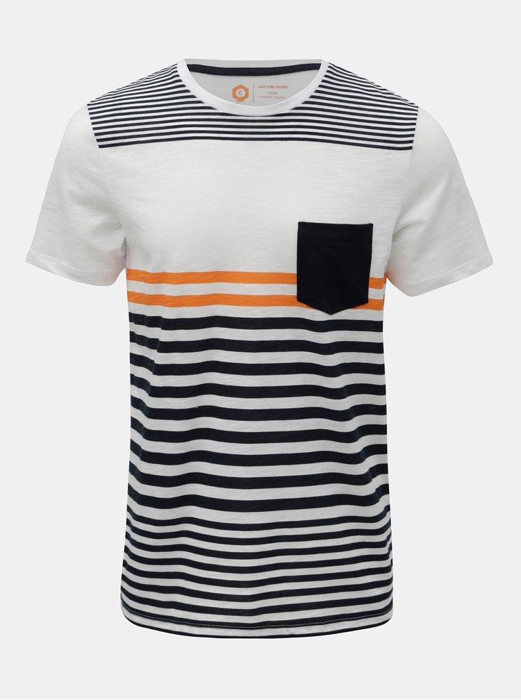 Modro-bílé pruhované slim fit tričko Jack & Jones True