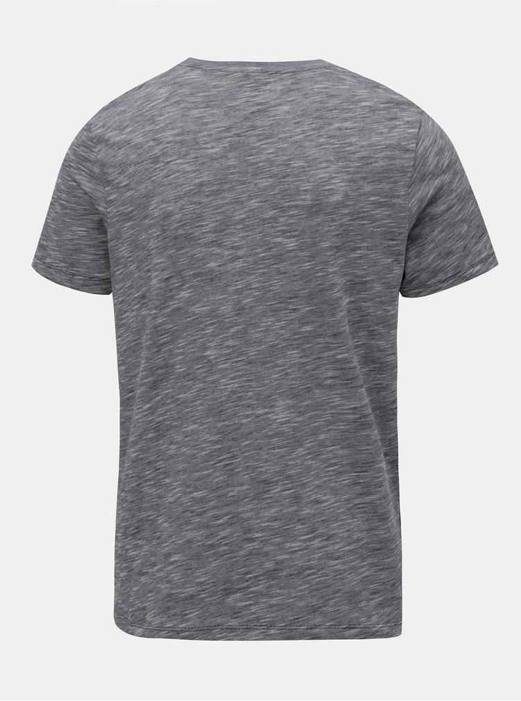 Tricou albastru-gri slim fit in dungi Jack & Jones True