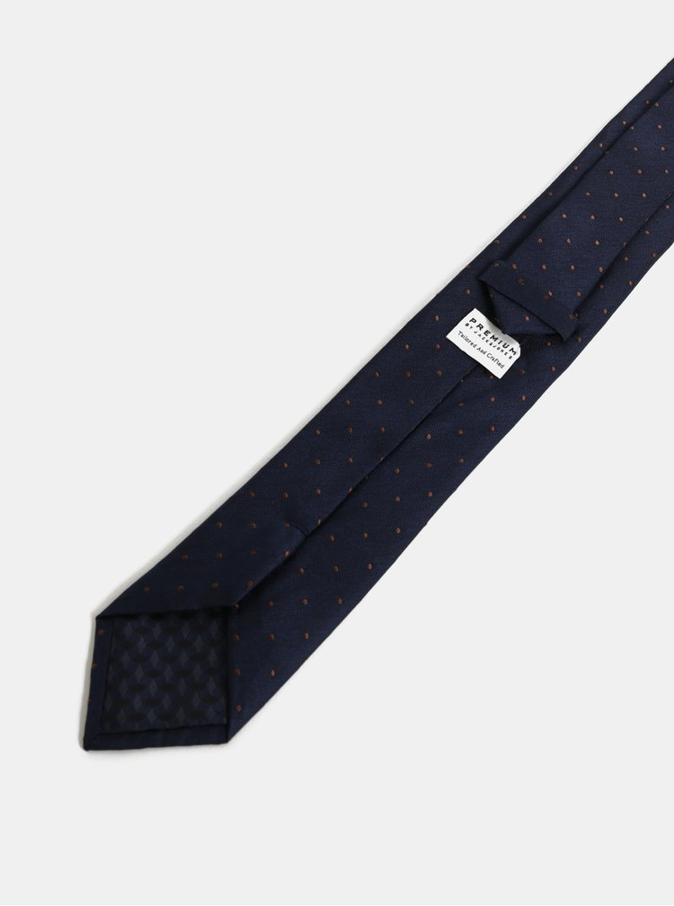 Cravata albastru inchis din matase cu buline Jack & Jones Johan