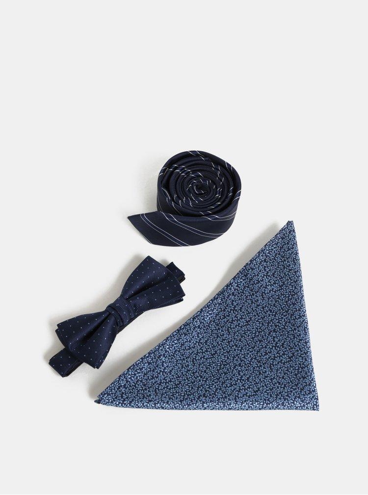 Dárková sada slim kravaty, motýlka a kapesníčku v tmavě modré barvě Jack & Jones Necktie